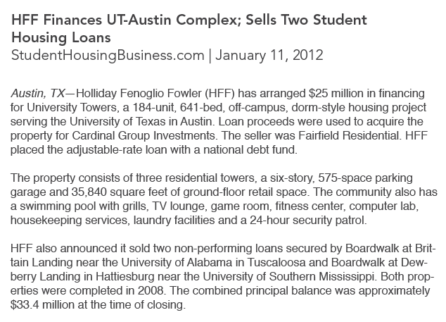Cardinal Group in the Press, Student Housing Business, UT Austin