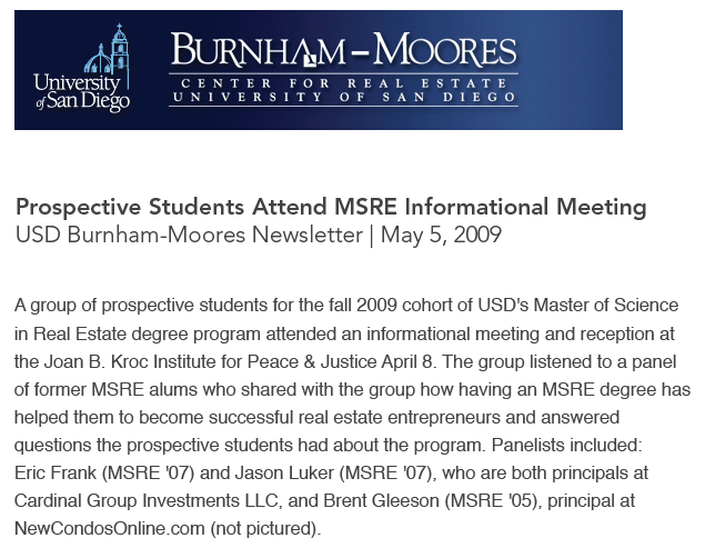 Cardinal Group, USD Burnham-Moores Newsletter